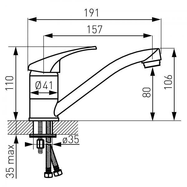 Baterie stativa lavoar FERRO Basic BBC2A, crom 1