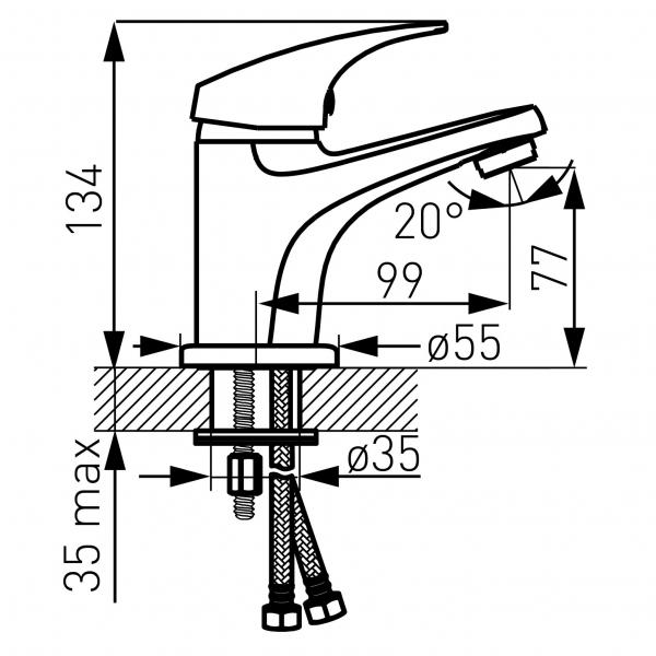 Baterie stativa lavoar FERRO Combo BCM2, crom cu ventil click - clack 1