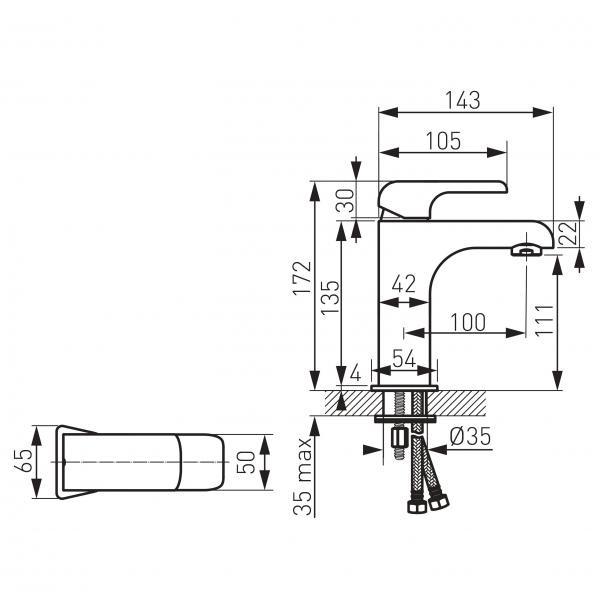 Baterie stativa lavoar FERRO Nobless Kvadro 35001/1.0, crom fara ventil 1