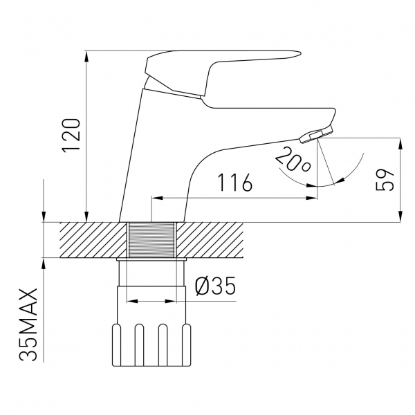 Baterie stativa lavoar FERRO Marena BMN2, crom cu ventil 1