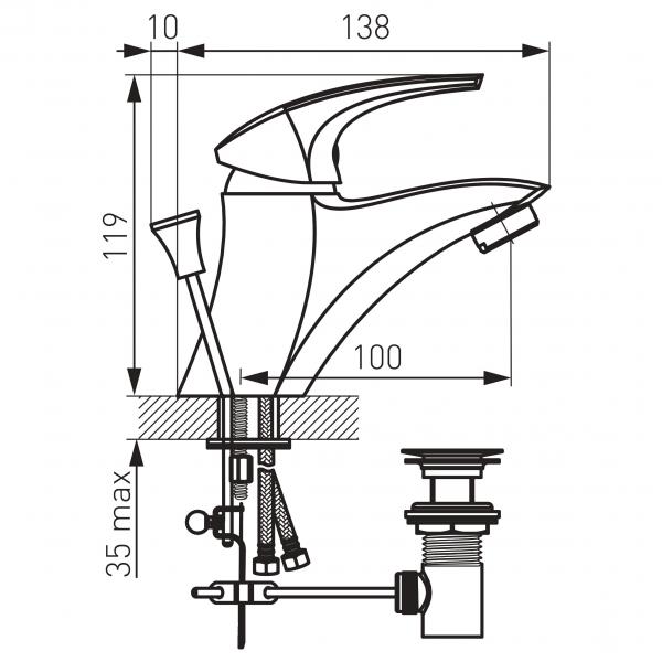 Baterie stativa lavoar FERRO Metalia 57 57001.0, crom cu ventil 1