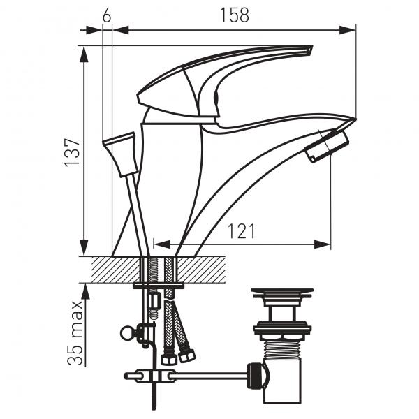 Baterie stativa lavoar FERRO Metalia 57 57002.0, crom cu ventil 1