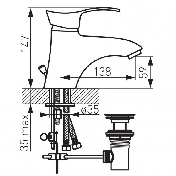 Baterie stativa lavoar FERRO Padwa BTP2, crom cu ventil 1