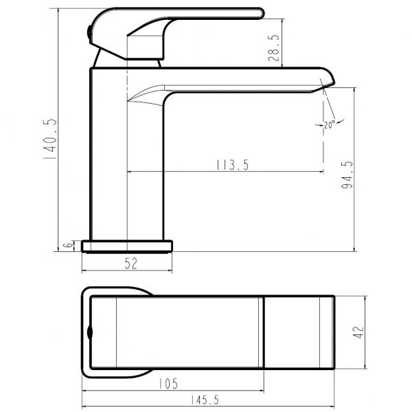 Baterie stativa lavoar FERRO Sharp 37001/1.0, crom fara ventil 1