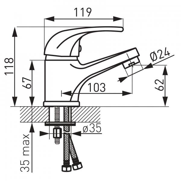 Baterie stativa lavoar FERRO Vasto BVA2, crom cu ventil 1