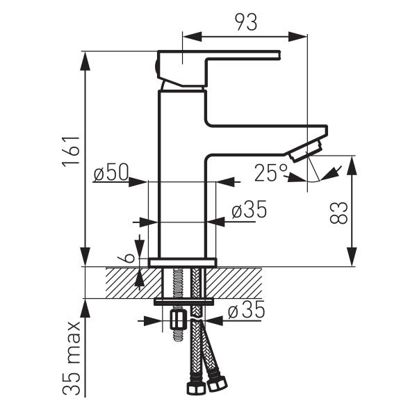 Baterie stativa lavoar FERRO Zicco BZI2, crom fara ventil 1