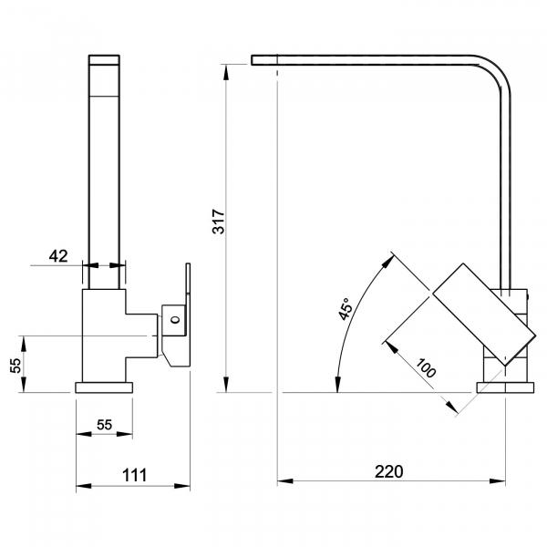 Baterie stativa spalator FERRO Edge 36713.0, crom cu pipa inalta 1