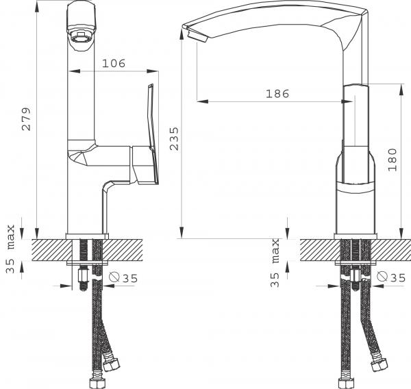 Baterie stativa spalator FERRO Florence VerdeLine BFL4VL, crom 1