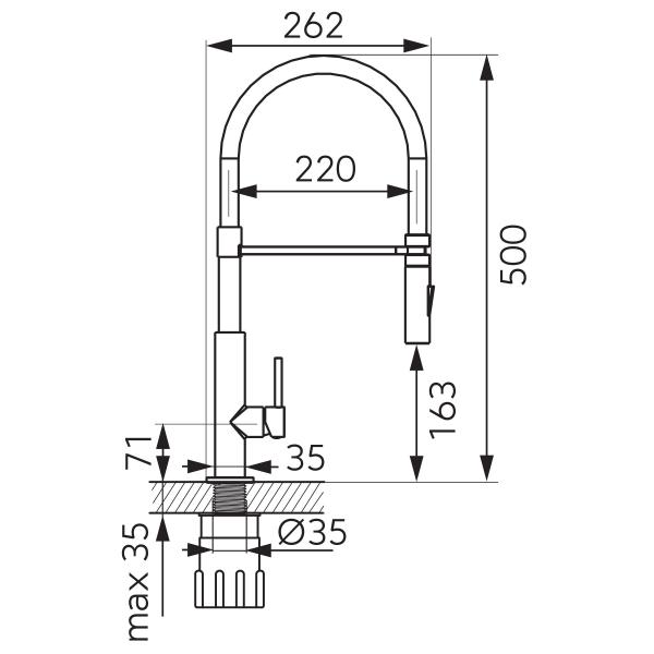 Baterie stativa spalator FERRO LibrettoBLE4B, crom/negru, pipa elastica extractibila 1