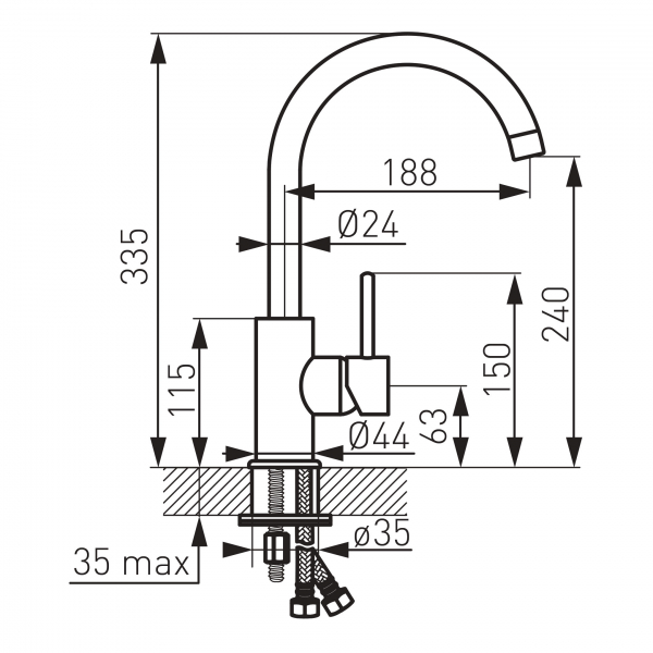 Baterie stativa spalator FERRO Lugio BLG4, crom 1