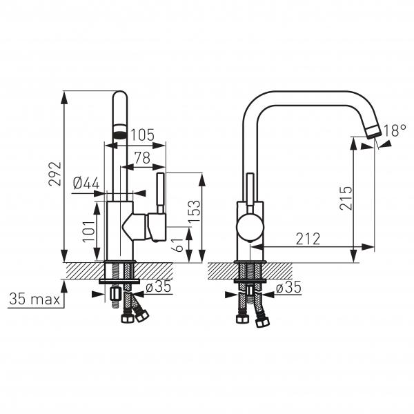 Baterie stativa spalator FERRO Ratio BTI4, crom cu pipa lebada 1
