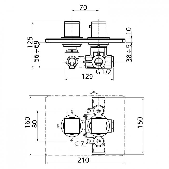 Baterie termostatata ingropata cada/dus FERRO Aquasave 2850R.0, crom 1