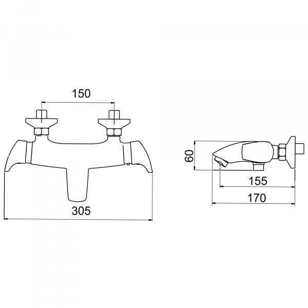 Baterie termostatata perete cada/dus FERRO Metalia 57 57920/1.0, crom fara accesorii 1