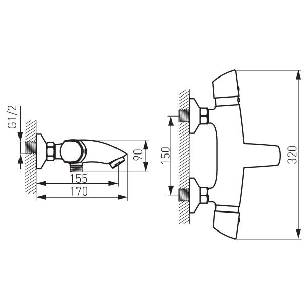 Baterie termostatata perete cada/dus FERRO Metalia 57 57921/1.0, crom fara accesorii 1