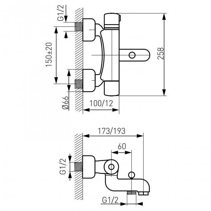 Baterie termostatata perete cada/dus FERRO TA1, crom fara accesorii 1