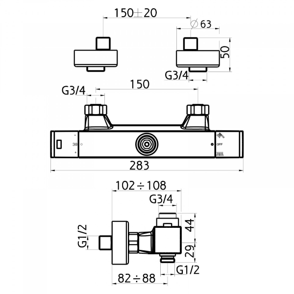 Baterie termostatata perete dus FERRO Aquasave 2862/1.0, cu 2 iesiri, crom 1
