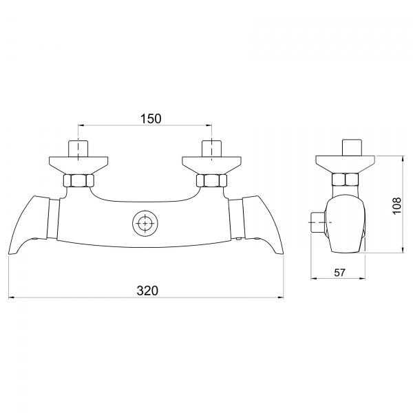 Baterie termostatata perete dus FERRO Metalia 57 57962/1.0, crom fara accesorii 1