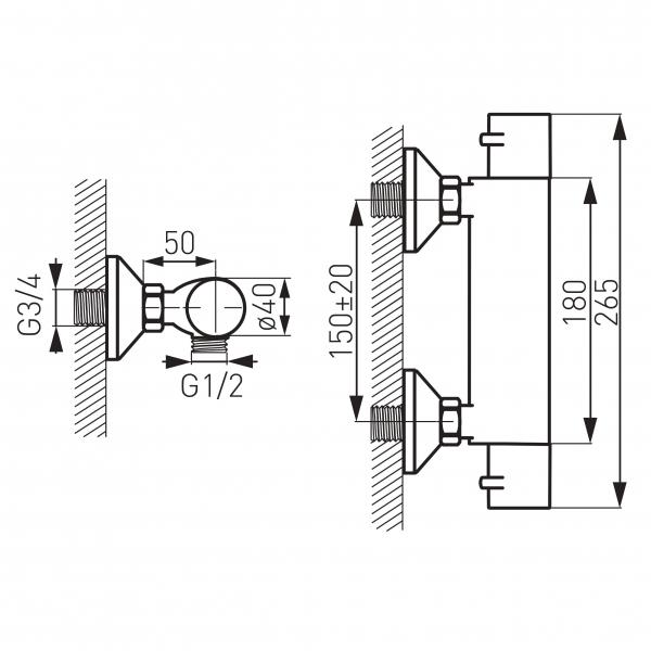 Baterie termostatata perete dus FERRO Varese TAM7, crom fara accesorii 1
