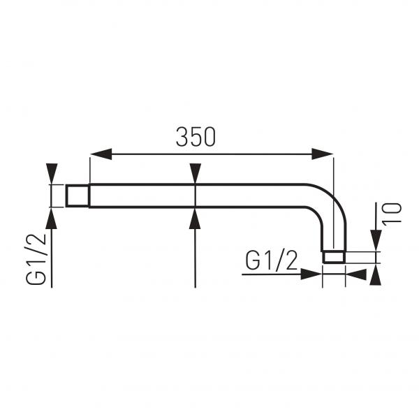 Brat fix 350 mm pentru cap dus din perete FERRO RN35, crom 1