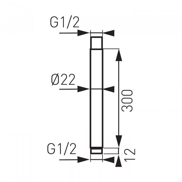 Brat fix 350 mm pentru cap dus din tavan FERRO RNS30, crom 1