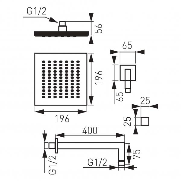 Cap de dus fix cu brat din perete L= 400 mm FERRO Quadro NPT04-LB, 8inch, crom 1