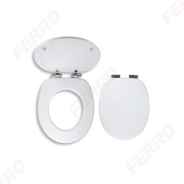 Capac WC soft-close din MDF FERRO, alb 0