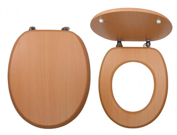 Capac WC universal din lemn de fag rosiatic FERRO, natur 0