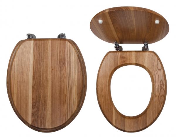 Capac WC universal din lemn de frasin FERRO, natur 0