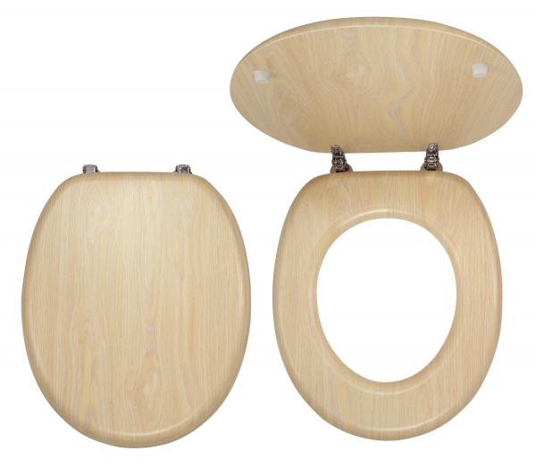Capac WC universal din lemn de mesteacan FERRO, natur 0