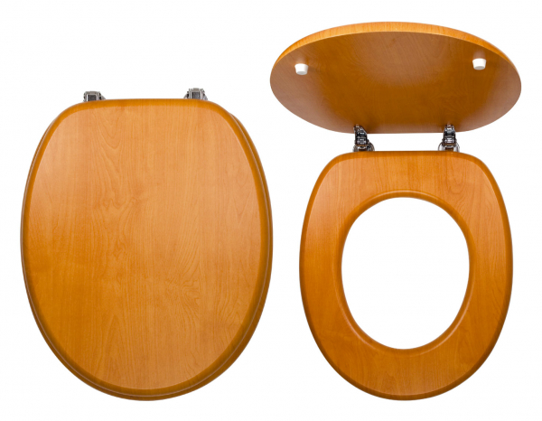 Capac WC universal din lemn de nuc FERRO, natur deschis 0