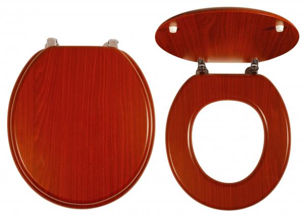 Capac WC universal din lemn de nuc FERRO, natur inchis 0