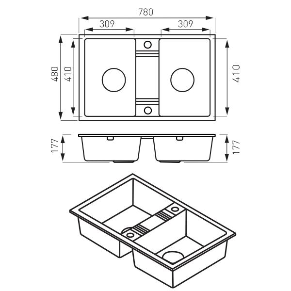 Chiuveta granit, 2 cuve 48x78 FERRO MEZZO II DRGM2/48/78GA, gri 1