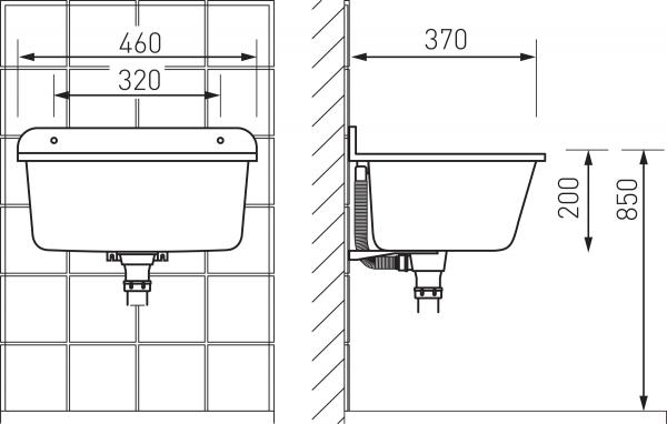 Chiuveta poliester cu o cuva FERRO DRK37/46G, 37/46 cm, gri montaj pe perete sau pe blat 1