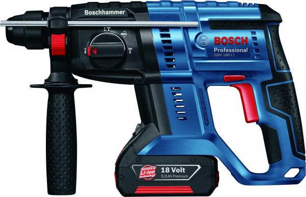 Ciocan rotopercutor cu acumulator Bosch GBH 180-LI, 18V, 4 Ah, 1.7J, 1800rpm, SDS-Plus, 2 acumulatori si incarcator 2