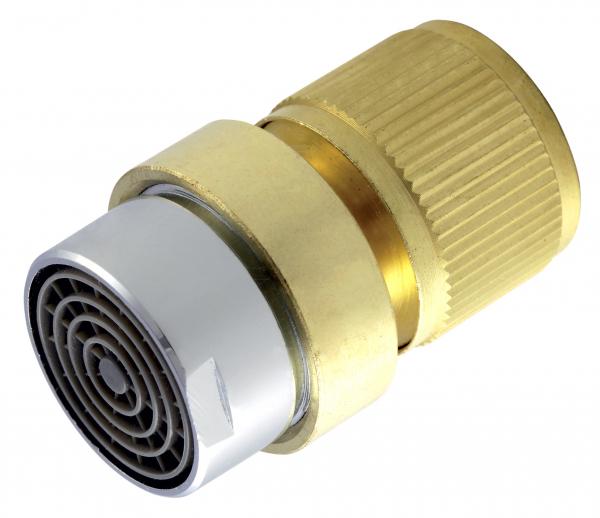 """Conector din alama FERRO DY8110CN, pentru furtun gradina 1/2"""" cu regulator debit 0"""