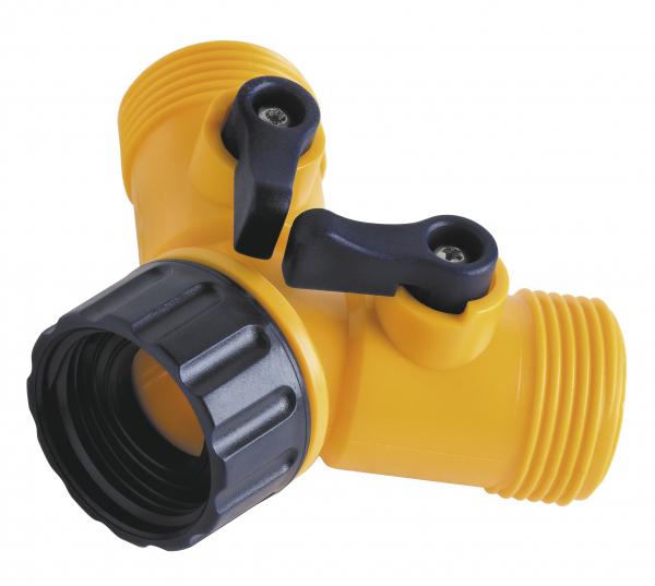 "Conector pentru robinet din plastic FERRO DY8002, 3/4"" cu 2 cai si robineti 0"