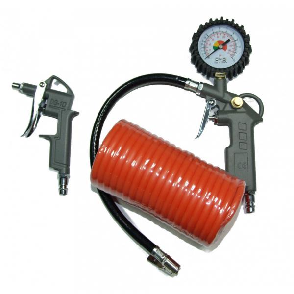 Pachet 3 accesorii pentru Compresor Aer Stager, furtun 5m, pistol manometru, pistol suflat 0