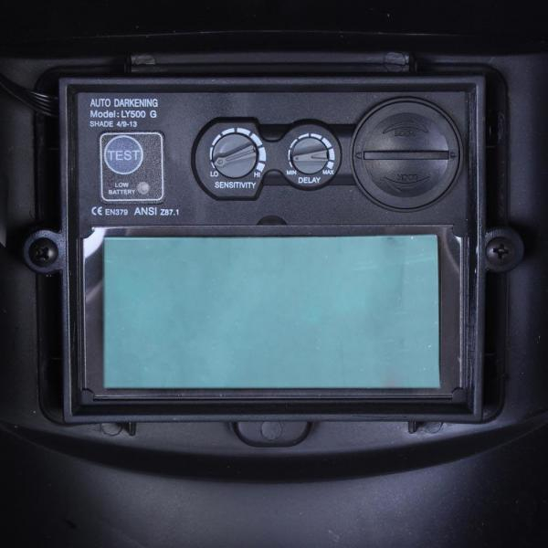Masca de sudura automata Intensiv Red XL, reglabil, 4 senzori, solar+baterie, 0.04ms, DIN16 2