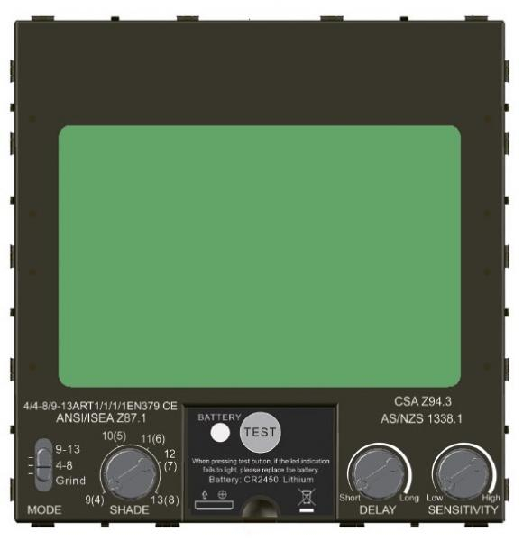 Masca de sudura automata Intensiv 9-13 Cronos, reglabil, 4 senzori, solar+baterie, 0.04ms, DIN16 3