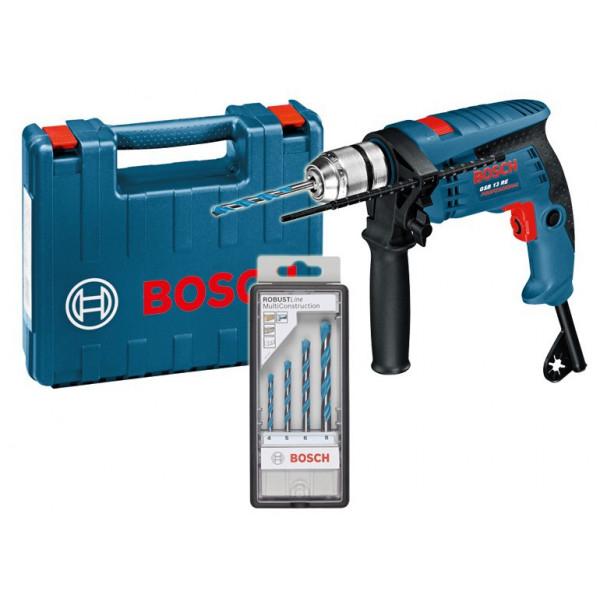 Masina de gaurit cu percutie si insurubat (bormasina) Bosch GSB 13 RE cu set 4 burghie Bosch MultiConstruction, 600 W, 2800 RPM 0