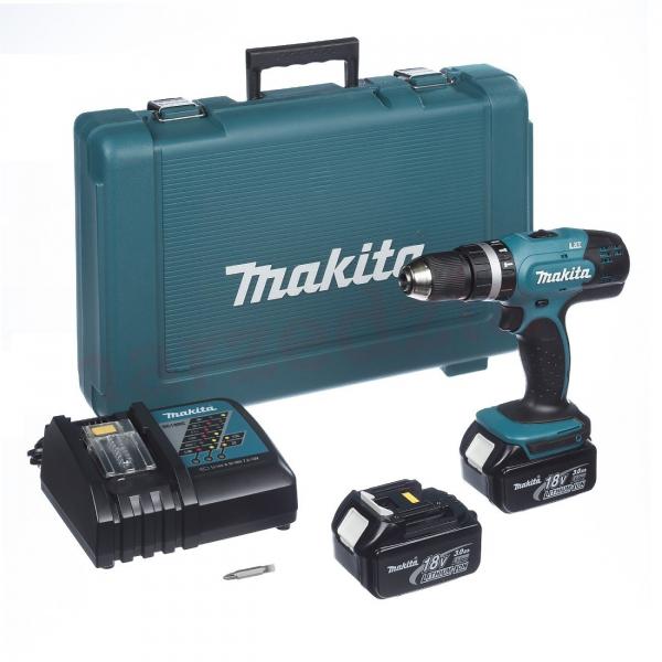 Masina de gaurit cu percutie si insurubat (bormasina) cu acumulator Makita DHP453RFE, 1300 RPM, 18V, 3 Ah [0]
