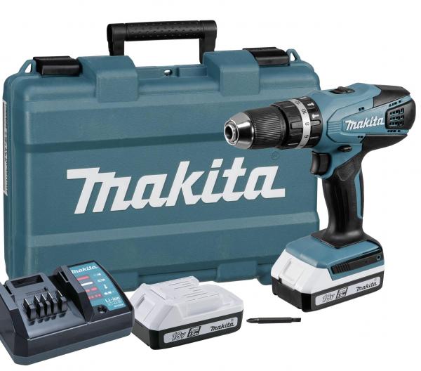 Masina de gaurit cu percutie si insurubat (bormasina) cu acumulator Makita HP457DWE, 1400 RPM, 18V, 1.3 Ah 1