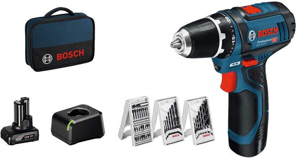 Masina de gaurit si insurubat (bormasina) Bosch GSR 12V-15 cu set de accesorii, 10.8 V, 2 Ah, 30 Nm, 2 acumulatori, incarcator 0