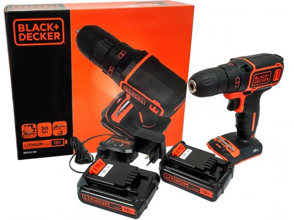 Masina de gaurit si insurubat (bormasina) cu acumulator Black & Decker BDCDC18B, 650 RPM, 18V, 1.5 Ah, 2 acumulatori inclusi 1