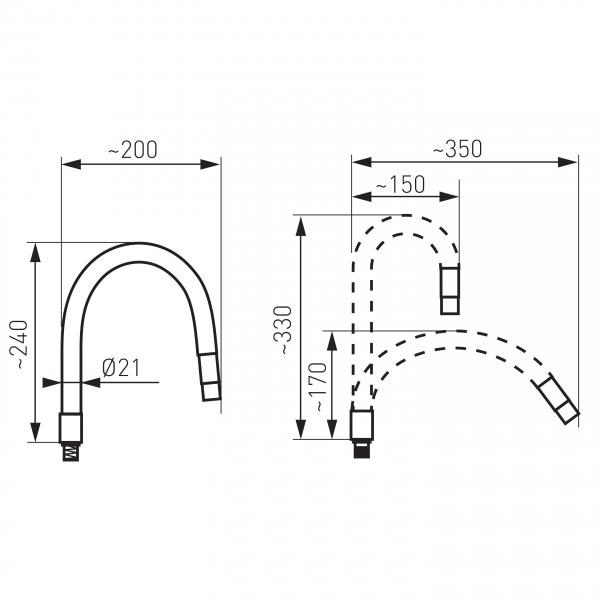 Pipa elastica pentru baterie spalator FERRO Elastico W100B-B, negru 1