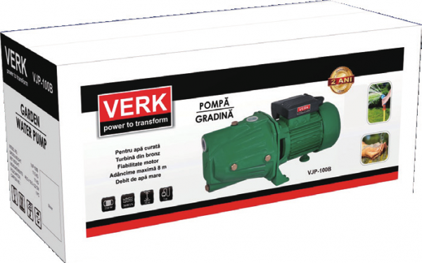 Pompa apa de suprafata Verk VJP-100B, 750W, 60L/min, 2.4m3/h, apa curata 1