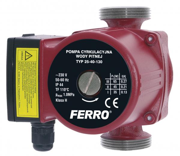 Pompa recirculare FERRO 0203W, 25-40 130, 10 BAR, 65W, 130mm, 3,5 m³/h 0