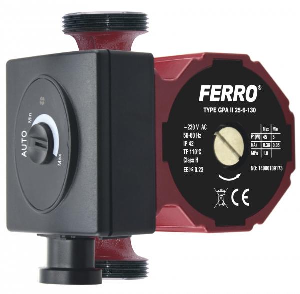 Pompa recirculare FERRO 0604W, Clasa A GPA II 25-6 130, 10 BAR, 45W, 130mm, 3m3/h 0