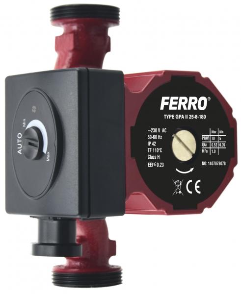 Pompa recirculare FERRO 0605W, Clasa A GPA II 25-8-180, 10 BAR, 22W, 180mm, 4m3/h 0