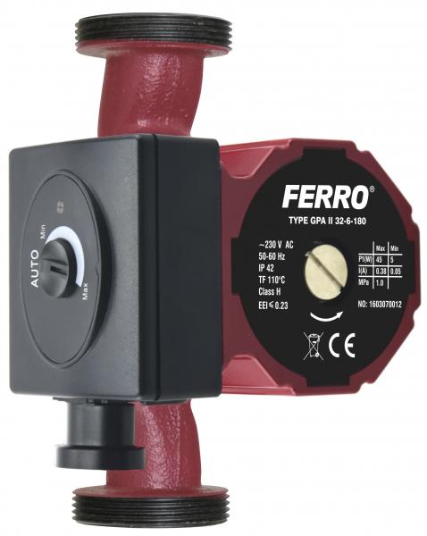 Pompa recirculare FERRO 0606W, Clasa A GPA II 32-6-180, 10 BAR, 45W, 180mm, 4m3/h 0